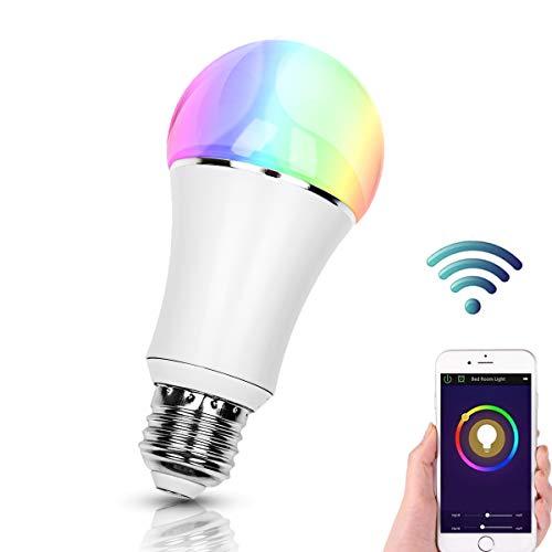 Smart Alexa Lampe,FEYG Wi-Fi E27 LED Smart Glühbirne RGB Dimmbar Kompatibel Mit Amazon Alexa,steuerbar via App, Sbis zu 16 Millionen Farben,wählen Sie zuerst Smart Home(Einzelpackung)