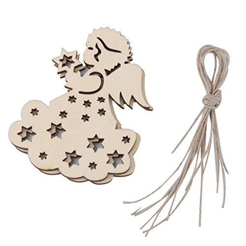 10x Abbellimento Albero Di Natale Appeso con Stringa Craft Legno Ornamento Decorazione Addobbi Feste Party - 05
