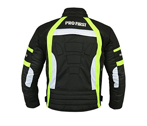 JKT-007 | Waterproof Motorbike Motorcycle Jacket in Cordura Fabric and CE Approved Armour – 6 Packs Design Most Popular (Black & Green, Large)