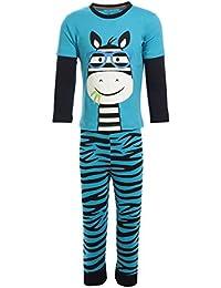 Lazy shark Winter Wear for Kids/Boys - Night wear - Track Suits - Pyjama Tshirt - Warm Cotton Fabric - Cartoon Printed - Full Sleeve - for 1/2/3/4/5/6/7 Year Boys - Track Pant and Tshirt.