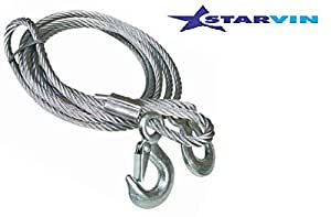 STARVIN 4M Long || Super Strong Emergency Heavy Duty || Car Tow Cable || 3 Ton Towing Strap Rope || with Dual Forged Hooks || B-01