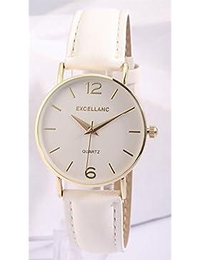 Excellanc Damenuhr analog Armbanduhr Goldfarbig Quarzwerk und Metallgehäuse rund 34mm x 7mm Kunstlederarmband...