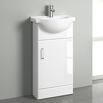white gloss cloakroom basin vanity unit sink cabinet bathroom storage