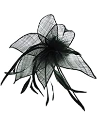Black Sinamay Leaf and Feather Beak Clip Brooch Corsage Fascinator
