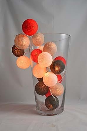 20 LED Guirlandes Lumineuse de Boules de Coton Décoratir, Lumières de la chambre, Lumières de partie, Lumières de mariage, Lumières de la chambre, Lumières de partie, Lumières de mariage Blanc, Rouge, Blanc fumée, gris (1,8,57,60)