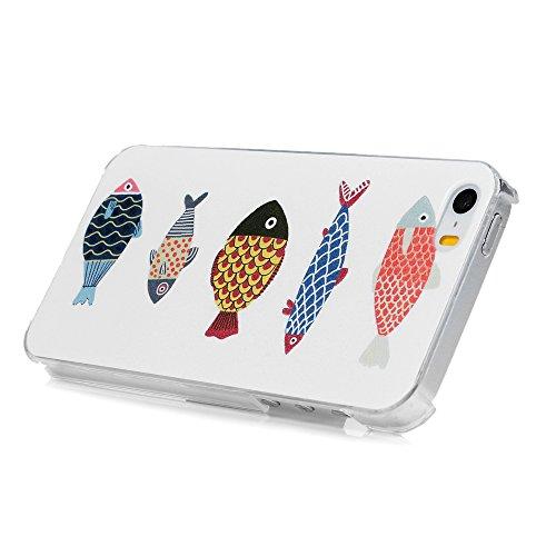 Lanveni PC Hülle Etui Telefon Kasten Hardcase für Apple iPhone SE 5 5S Case Cover Transparent Hülle Handy tasche Schutzhüllen Shell Abdeckung Back Cover Fünf Fische Fünf Fische