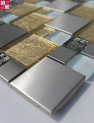1 Matte Glasmosaik Mosaikfliesen Mosaik Glas Edelstahl Gold Silber Weiß 30x30 von Bador bei TapetenShop
