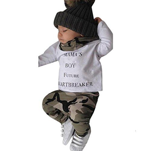 Omiky® Neugeborene Kinder Baby Jungen Outfits Kleidung Brief T-Shirt Tops + Camouflage Hosen Set (12-18Monate, Weiß)