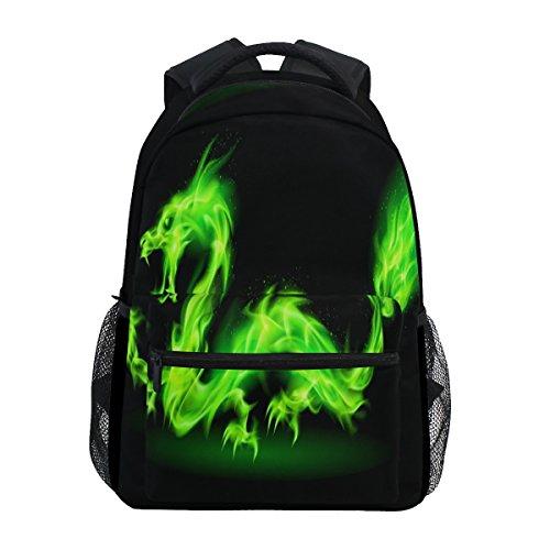 Shinesnow verde fuoco drago cinese nero di zaino, monster animal water resistant studenti universitari computer portatili zaino da viaggio per uomo o donna