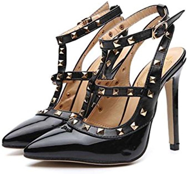 Mujeres Pump 12cm Stiletto Point punta del pie Slingbacks Sandalias de correa de Ankel Zapatos de boda Sexy Color...