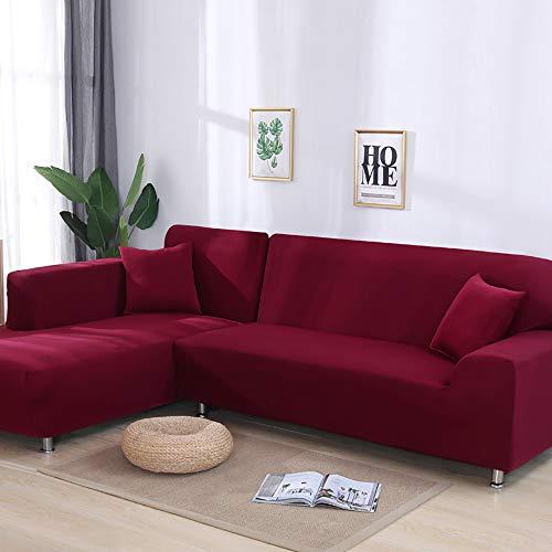 Rmckj universale copridivano angolare con penisola elasticizzato antiscivolo divano protector ideale per poltrone, divani a 2/3/4 posti mobili coperture su due lati per,darkred-fourseat(235-300cm)