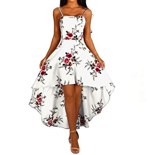 Kleid Damen,Binggong Frauen Blumenspitze Sleeveless V-Ausschnitt Cocktail Formal unregelmäßiges Kleid Schulterfrei Minikleid Party Dress Sling Kleid Reizvolle Abend Kleid Mode (Weiß, XXL) -