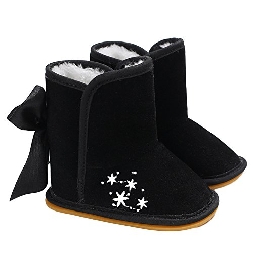 Yimosecoxiang Soft Baby Girls Snowflake Pattern Velvet Winter Anti-Slip Sole Boots Shoes with Bow