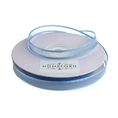 Homeford FCR000SES0308338 Organzaband, durchscheinend, mit Satin-Rändern, 9,5 cm, Antikblau -