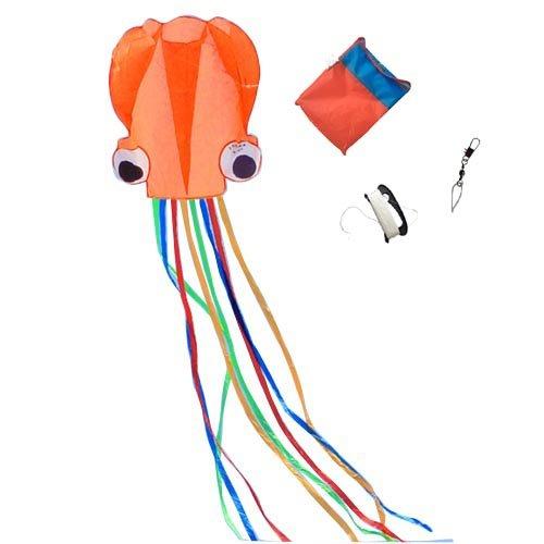 Mayco bell polipo portatile aquilone nylon e poliestere materiale-giocattolo perfetto per i bambini e per bambini giochi all'aperto attività pieghevole di grandi dimensioni 72 x 400 cm | extra 100 metri di linea (arancia)