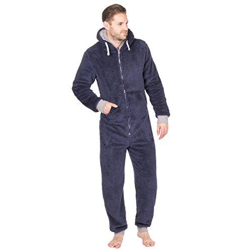 Combinaison hommes Snuggle molleton Sweat-shirt zippéà capuche combinaison une pièce pyjama avec poches - Bleu marine, Large / X-Large