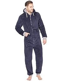 Onezee hombre para acurrucarse Forro Polar Con Capucha Cremallera Mono Mono pijama con bolsillos