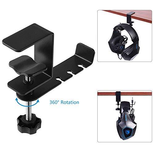 Percha para auriculares CestMall, soporte giratorio de 360 grados con abrazadera portátil Soporte para auriculares Abrazadera ajustable Gancho para escritorio Gancho de metal universal para auriculare