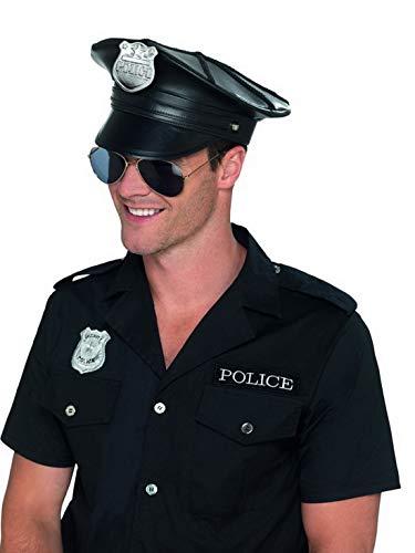 �m Accessoires Zubehör Deluxe Polizei Polizisten Hut Mütze Kappe mit Abzeichen in Leder Optik, perfekt für Karneval, Fasching und Fastnacht, Schwarz ()