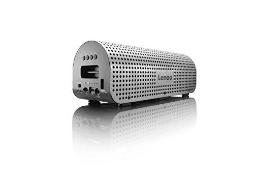 Lenco GRID-7 tragbarer Bluetooth-Lautsprecher (11 Watt RMS, 3,5 mm Klinke, USB) inkl. Tragegurt, Netzkabel und Kabel zum Aufladen silber