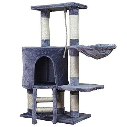 Wellhome Arbol para Gatos Escalador para Gatos Sisal Cubierto Rascador para Gatos con Hamaca y Plataforma de Perchas 96cm Gris