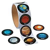 uyfrtdredswes One Roll Adhesive Tape With 100pcs Earth Planet Sticker For Kids Great Colorful Sticker Toy