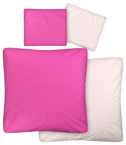 Weiche Wiege Bettwäsche (Aminata Kids – Baby Bettwäsche 80x80 cm Kinder Mädchen Unifarben Pink Rosa Baumwolle + Reißverschluss Wendebettwäsche Wiegenset einfarbig Bettbezug Stubenwagen Kinderwagenbettwäsche)