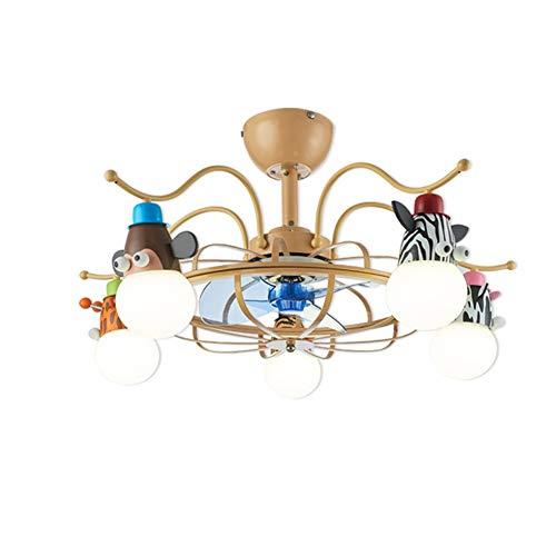 RZZX Ventilador de techo giratorio infantil nórdico Techo LED inteligente ventilador eléctrico...