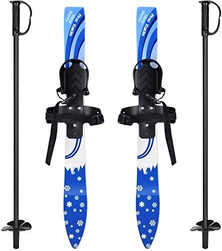 Kid\'s Beginner Snow Ski Und Stöcke,Winter Outdoor-Skiausrüstung,Skibindungen Für Kleinkinder Mit Geringem Widerstand Für 4 Jahre Und Jünger