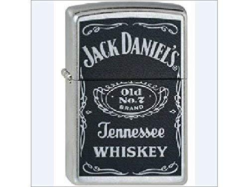 Zippo Feuerzeug 60001202 Jack Daniel's Label Benzinfeuerzeug, Messing, Street Chrome, 1 x 3,5 x 5,5 cm -