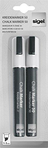 Sigel GL184 Kreidemarker weiß, 2 Stück, Keilspitze 1-5 mm, abwischbar - weitere Farben (Stück Spiegel 5 Set)