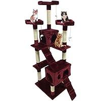 Homgrace Árbol para Gato con Rascador, 2 Casetas con Recubrimiento de Felpa para Que los Gatos para Relajarse, Jugar y Descansar Color Vino Rojo