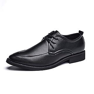 Jingkeke Herren Komfortable Formelle Oxfords Flache Ferse Runde Zehe Lace-up Business Freizeit Kleid Schuhe auffällig (Color : Schwarz, Größe : 44 EU)