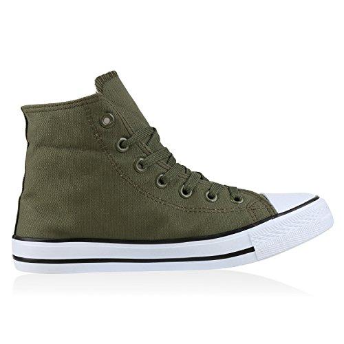 Bequeme Canvas Sneakers | High-Cut Modell | Basic Freizeit Schuhe | Viele Farben und Muster | Gr. 36-42 Dunkelgrün Verde