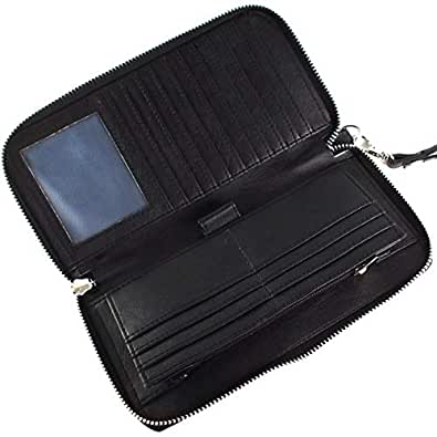 WAGGLE Women's Leather RFID Blocking Travel Clutch Long Zipper Black Wallet with 17 Card Slots