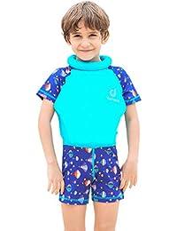 Gogokids Traje de Flotación para Niñas Niños - Bebé Flotante Bañadores Manga Corta Ropa de Natación UV Protección Solar Traje de Baño Natación Aprendizaje 1-7 Años