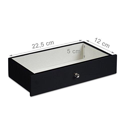 Relaxdays Schmuckkästchen mit großem Spiegel HBT: 15,5 x 28 x 16,5 cm Schmuckschatulle mit Schubfach für Ketten und Uhren Schmuckbox mit 4 Fächern und 5 Ringkissen Aufbewahrungsbox aus Holz, schwarz - 4