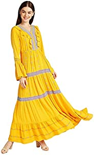 Iconic Women's 2091049 SS23VLSLVMXD Woven Cocktail Dress, Ye