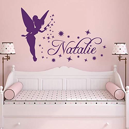 erbell Vinyl Decals Aufkleber Magie Kleine Prinzessin Benutzerdefinierte Mädchen Name Wandaufkleber für Baby Zimmer Mädchen 57X37CM ()