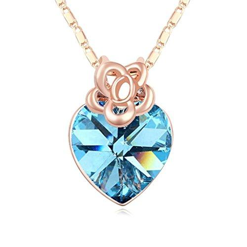 Daesar Schmuck Damenkette Vergoldet Blume Herz Synthetische Kristall Halskette Zirkonia Halskette Anhänger