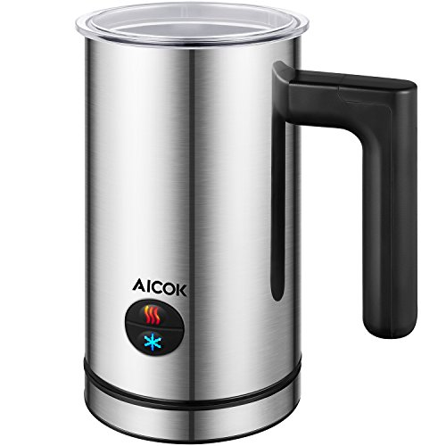 Aicok Milk Frother, Stainless Steel Electric Milk Steamer with Hot or Cold Milk, Silent Operation, Non-Stick Coating, Milk Warmer for Coffee, Latte, Cappuccino, Silver Test