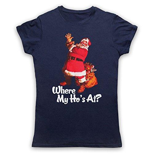 Where My Ho's At Santa Claus Father Christmas Funny Parody Slogan Damen T-Shirt Ultramarinblau