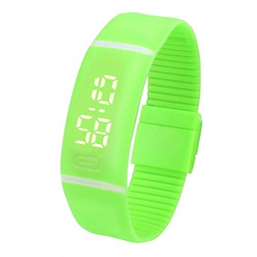 FEITONG Einfach Unisex Gummi LED Uhr Datum Sport Armband Digital Armbanduhr (Gras-Grün) (Gras Anker)