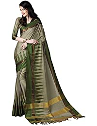 JHtex Fashion Women's Light Green Cotton Silk Handloom Work Fancy Saree With Blouse Party Wear Saree Diwali Special...