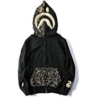 Camiseta de hombre chaqueta sudadera con capucha y cremallera con capucha bordada en oro para hombre tiburón personalidad Street marea,Black,M