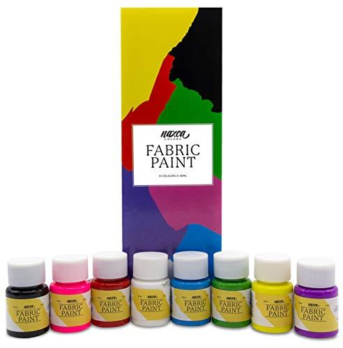 Pintura para Tela y Ropa Permanente con Gran Capacidad de Cobertura Nazca - Set 8 Colores x 30ml - Pack de Pintura Textil ideal para Pintar tus Camisetas, Bolsas, Vaqueros, Cojines y cualquier Tejido