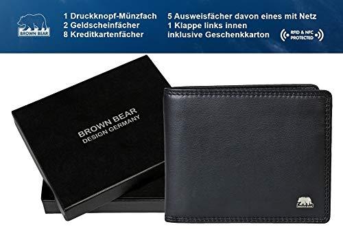 Brown Bear Geldbörse Herren Leder schwarz 8005 D bk - 6