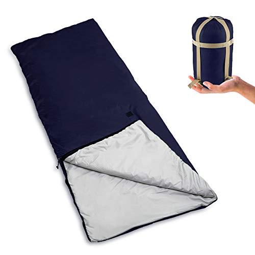 Bessport Schlafsack Ultraleicht 800g für 3 Jahreszeiten, 320T Nylon 100% sprüh gebundene Baumwolle 120g/m² Füllung Deckenschlafsack mit Kompressionsbeutel für Sommer Camping (Blau)