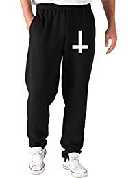 Cotton Island - Pantalones Deportivos TR0078 Inverted Cross 25mm 1 Pin Badge Button Anti Christ Indie Goth Emo Gothic