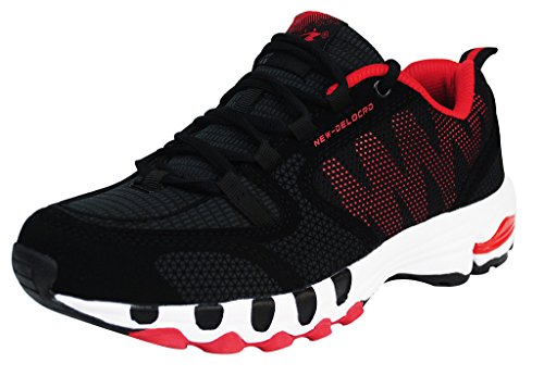 Delocrd Mens Running Shoes Walking Footwear UK Size 10.5 Black+Red (EU 47)
